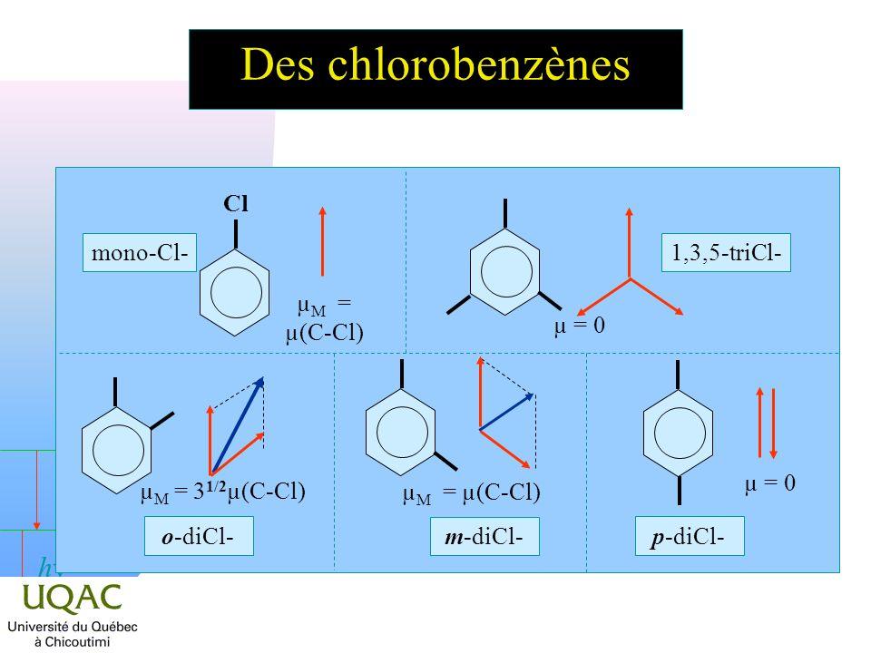 h Des chlorobenzènes o-diCl- µ M = 3 1/2 µ(C-Cl) m-diCl- µ M = µ(C-Cl) p-diCl- µ = 0 1,3,5-triCl- µ = 0 Cl mono-Cl- µ M = µ(C-Cl)