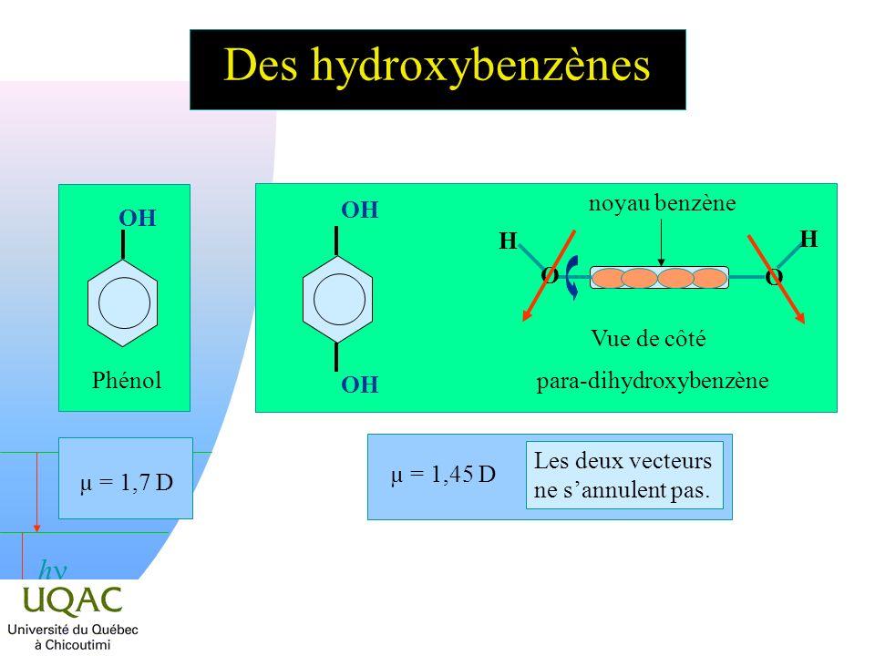 h Des hydroxybenzènes OH Phénol µ = 1,7 D Vue de côté O H O H noyau benzène OH para-dihydroxybenzène µ = 1,45 D Les deux vecteurs ne sannulent pas.