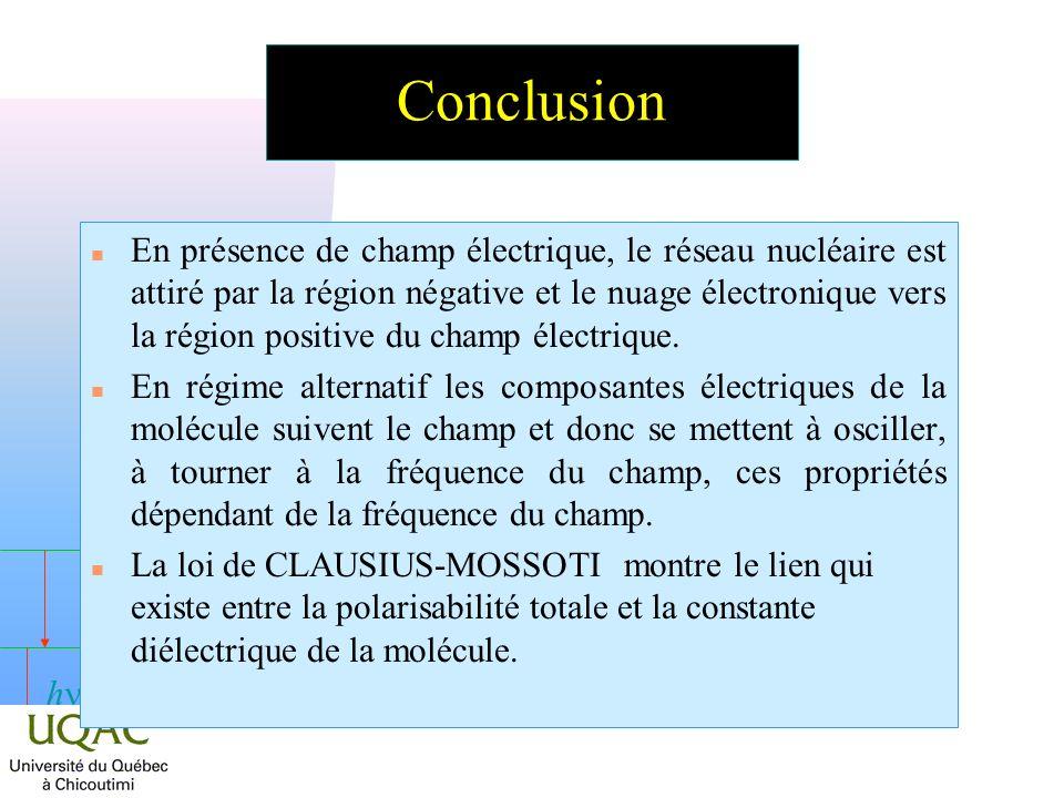 h n En présence de champ électrique, le réseau nucléaire est attiré par la région négative et le nuage électronique vers la région positive du champ électrique.