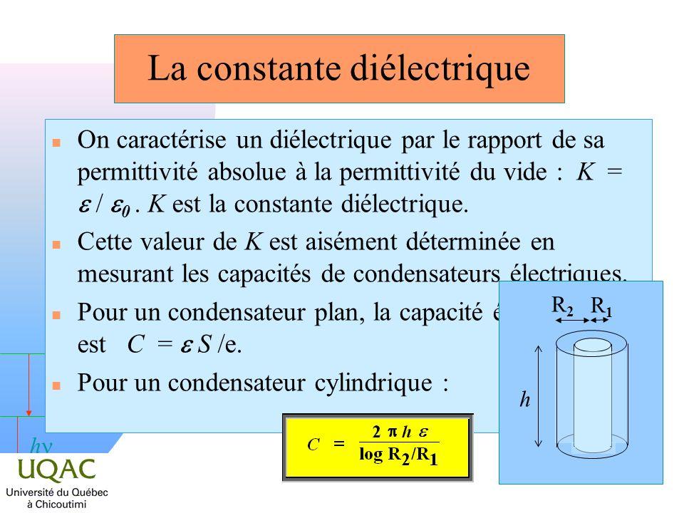 h La constante diélectrique On caractérise un diélectrique par le rapport de sa permittivité absolue à la permittivité du vide : K = / 0. K est la con