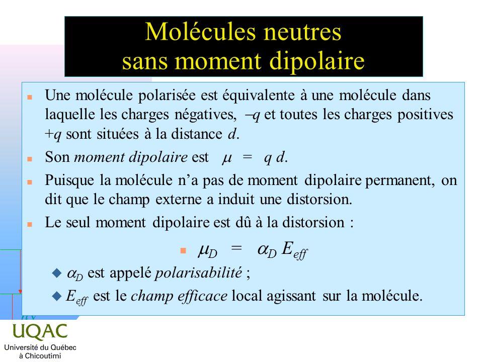 h Molécules neutres sans moment dipolaire Une molécule polarisée est équivalente à une molécule dans laquelle les charges négatives, q et toutes les charges positives +q sont situées à la distance d.