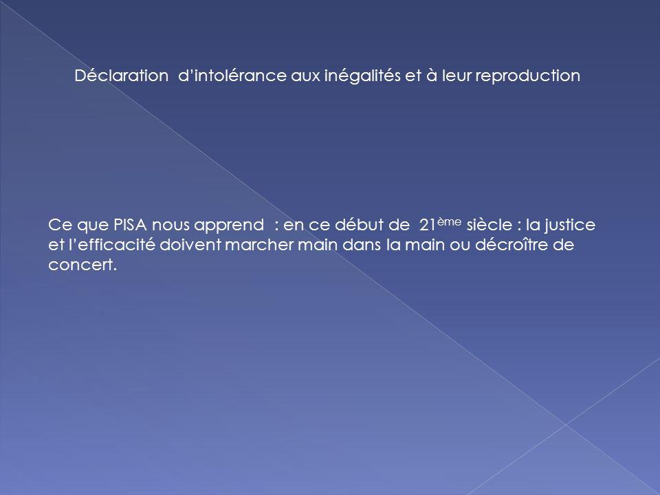 Déclaration dintolérance aux inégalités et à leur reproduction Ce que PISA nous apprend : en ce début de 21 ème siècle : la justice et lefficacité doivent marcher main dans la main ou décroître de concert.