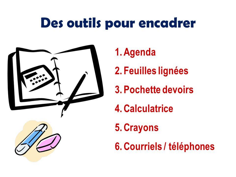 Des outils pour encadrer 1.Agenda 2.Feuilles lignées 3.Pochette devoirs 4.Calculatrice 5.Crayons 6.Courriels / téléphones