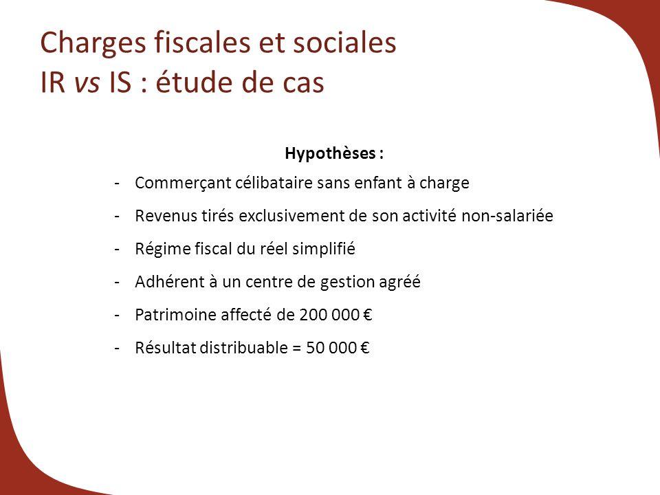 Charges fiscales et sociales IR vs IS : étude de cas Hypothèses : -Commerçant célibataire sans enfant à charge -Revenus tirés exclusivement de son act