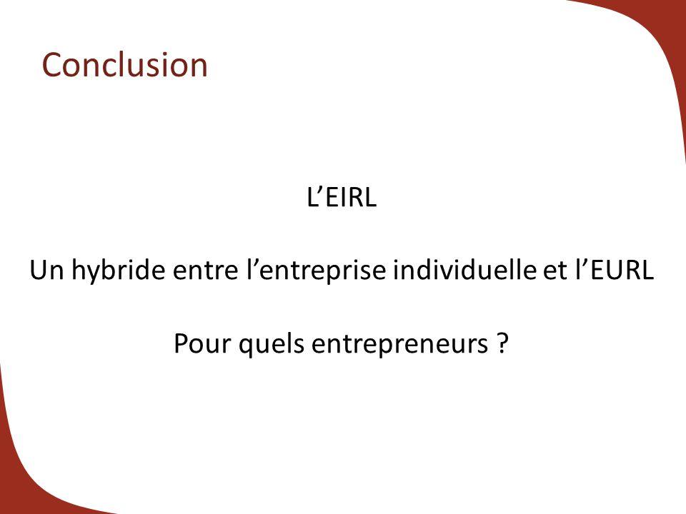 Conclusion LEIRL Un hybride entre lentreprise individuelle et lEURL Pour quels entrepreneurs ?