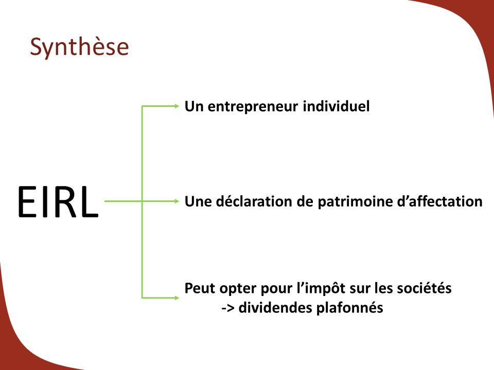 Synthèse EIRL Un entrepreneur individuel Une déclaration de patrimoine daffectation Peut opter pour limpôt sur les sociétés -> dividendes plafonnés