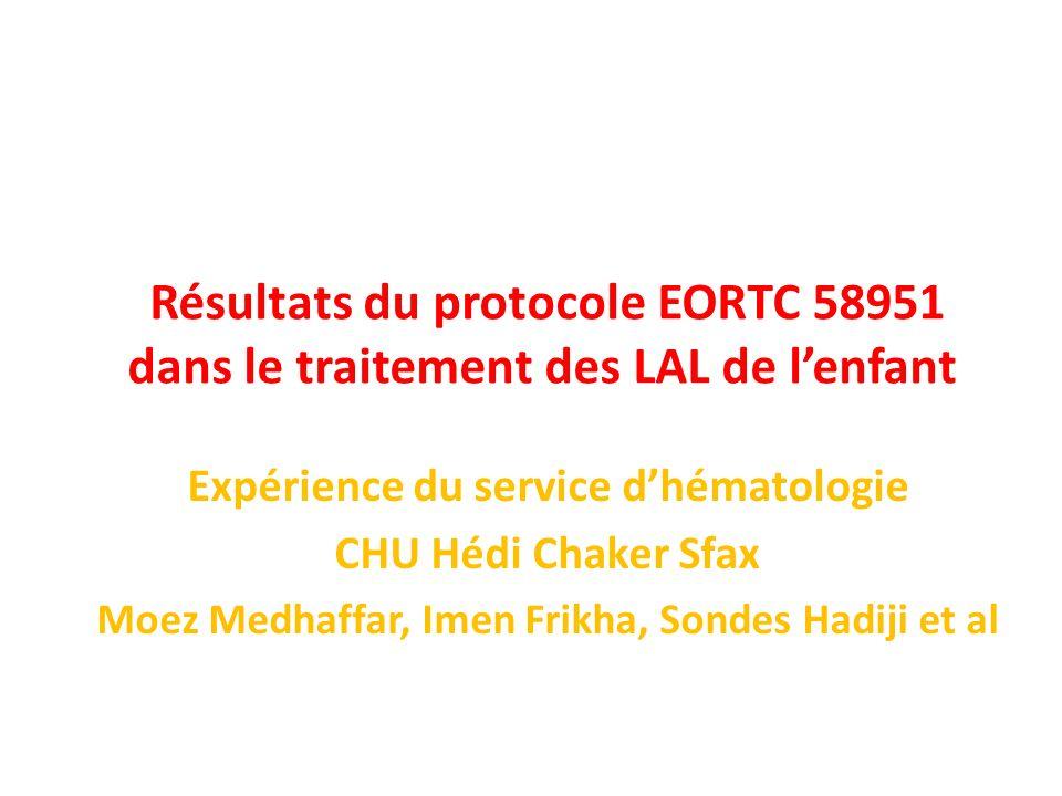 Résultats du protocole EORTC 58951 dans le traitement des LAL de lenfant Expérience du service dhématologie CHU Hédi Chaker Sfax Moez Medhaffar, Imen Frikha, Sondes Hadiji et al