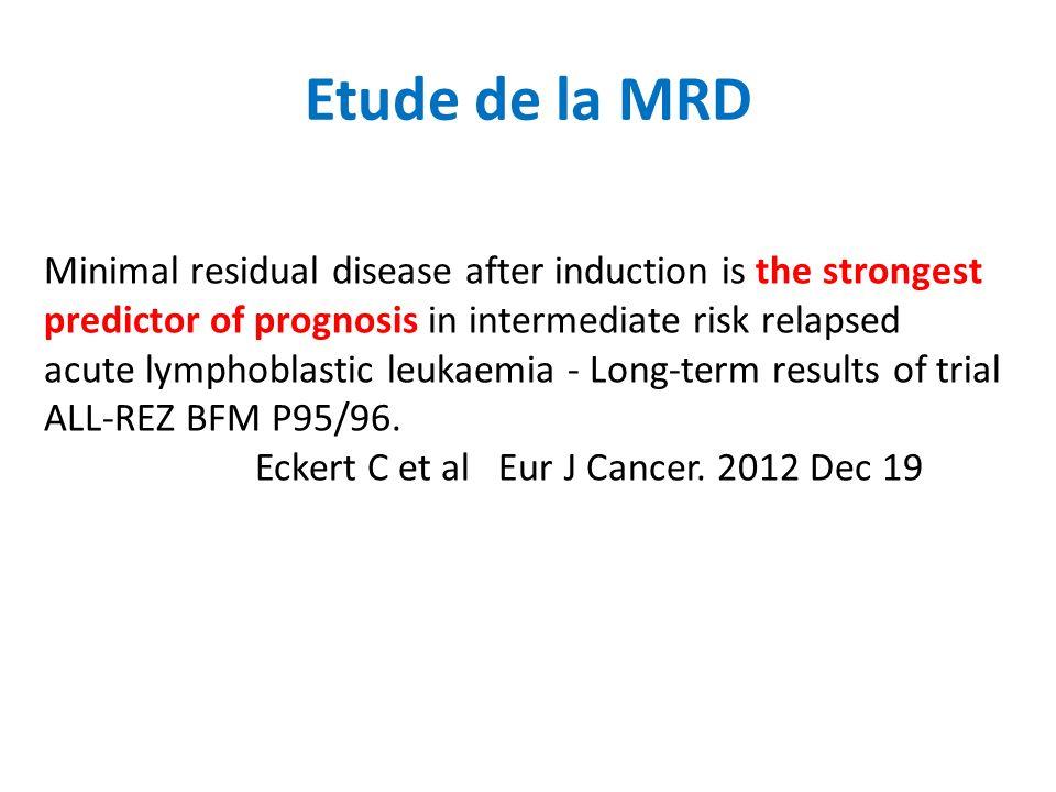 Etude de la MRD Minimal residual disease after induction is the strongest predictor of prognosis in intermediate risk relapsed acute lymphoblastic leukaemia - Long-term results of trial ALL-REZ BFM P95/96.