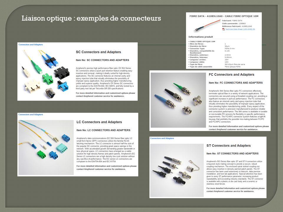 Liaison optique : exemples de connecteurs