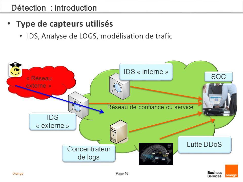 Page 16Orange « Réseau externe » Détection : introduction Type de capteurs utilisés IDS, Analyse de LOGS, modélisation de trafic Réseau de confiance ou service IDS « externe » IDS « interne » Concentrateur de logs SOC Lutte DDoS