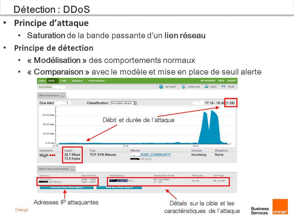 Page 20Orange Détection : DDoS Principe dattaque Saturation de la bande passante dun lien réseau Principe de détection « Modélisation » des comporteme