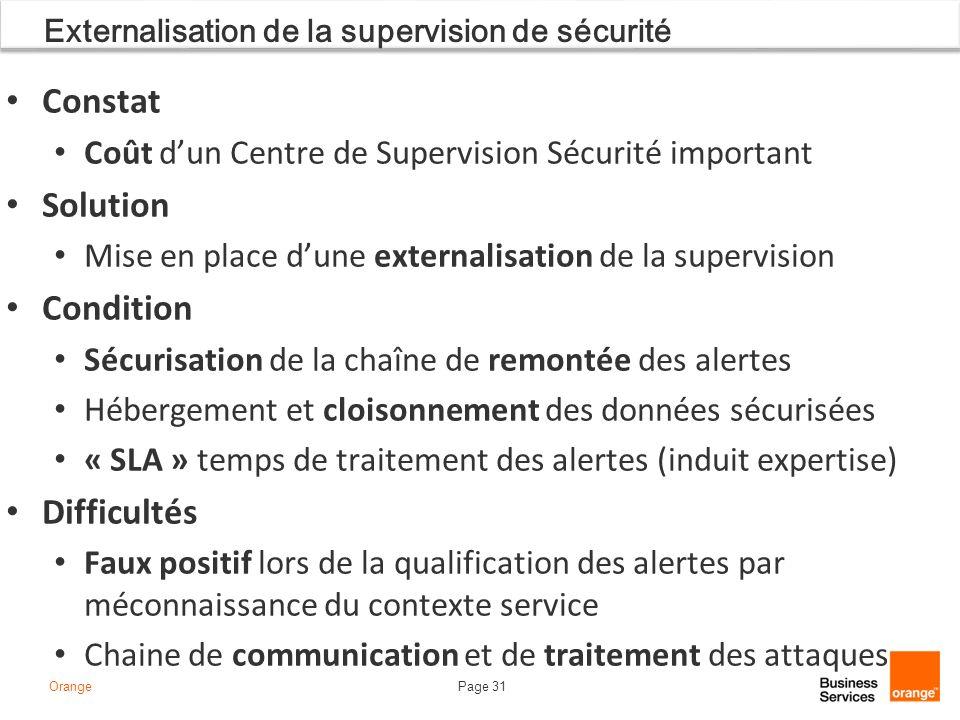 Page 31Orange Externalisation de la supervision de sécurité Constat Coût dun Centre de Supervision Sécurité important Solution Mise en place dune exte