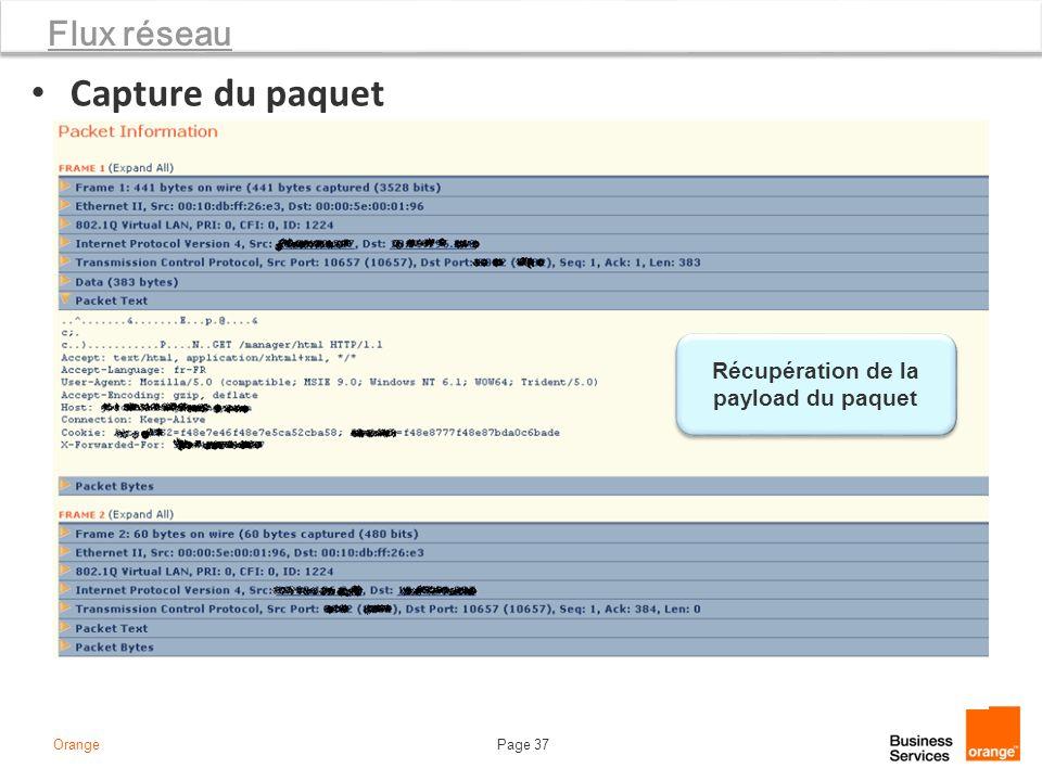 Page 37Orange Flux réseau Capture du paquet Récupération de la payload du paquet