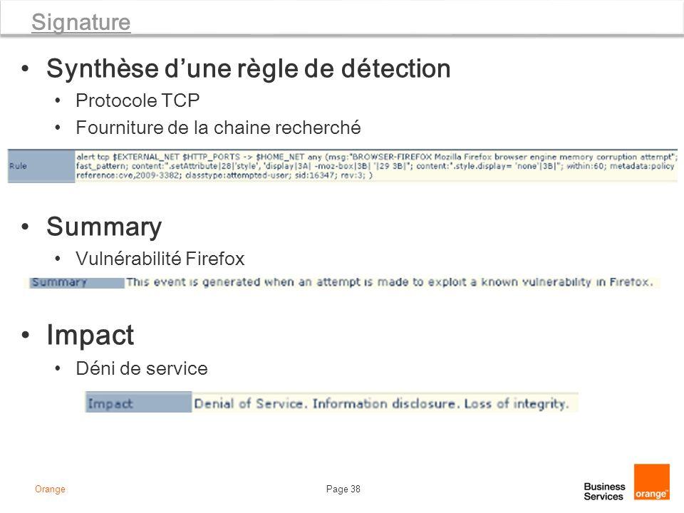 Page 38Orange Signature Synthèse dune règle de détection Protocole TCP Fourniture de la chaine recherché Summary Vulnérabilité Firefox Impact Déni de