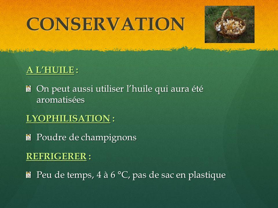 CONSERVATION A LHUILE : On peut aussi utiliser lhuile qui aura été aromatisées LYOPHILISATION : Poudre de champignons REFRIGERER : Peu de temps, 4 à 6