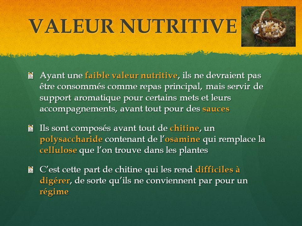 VALEUR NUTRITIVE Ayant une faible valeur nutritive, ils ne devraient pas être consommés comme repas principal, mais servir de support aromatique pour