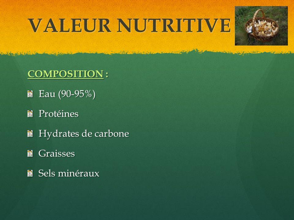 VALEUR NUTRITIVE COMPOSITION : Eau (90-95%) Protéines Hydrates de carbone Graisses Sels minéraux