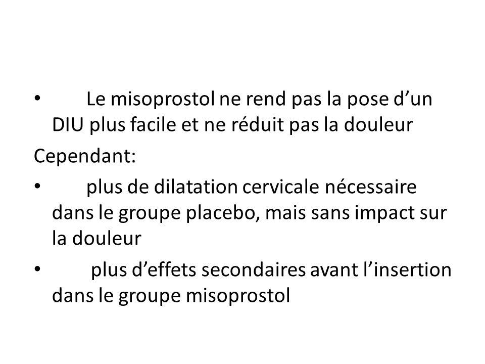 Le misoprostol ne rend pas la pose dun DIU plus facile et ne réduit pas la douleur Cependant: plus de dilatation cervicale nécessaire dans le groupe placebo, mais sans impact sur la douleur plus deffets secondaires avant linsertion dans le groupe misoprostol