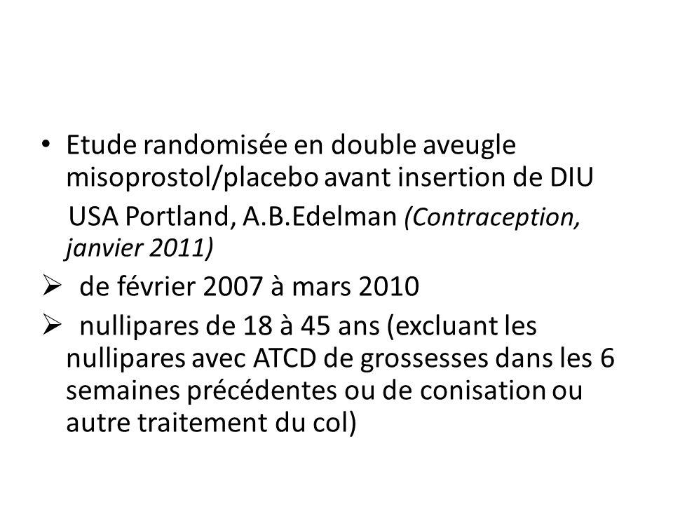 Etude randomisée en double aveugle misoprostol/placebo avant insertion de DIU USA Portland, A.B.Edelman (Contraception, janvier 2011) de février 2007 à mars 2010 nullipares de 18 à 45 ans (excluant les nullipares avec ATCD de grossesses dans les 6 semaines précédentes ou de conisation ou autre traitement du col)
