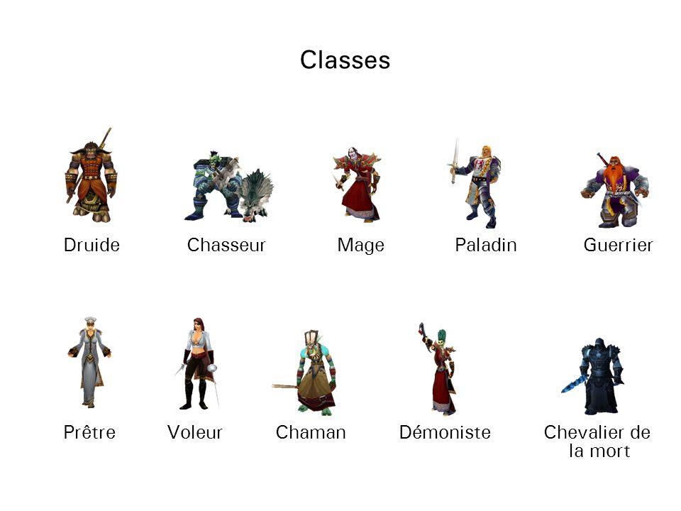 Classes Druide Chasseur Mage Paladin PrêtreVoleur Chaman Démoniste Guerrier Chevalier de la mort