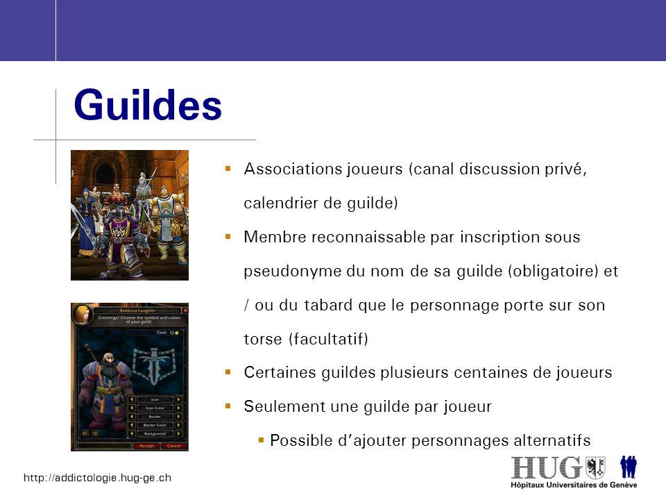 http://addictologie.hug-ge.ch Guildes Associations joueurs (canal discussion privé, calendrier de guilde) Membre reconnaissable par inscription sous p