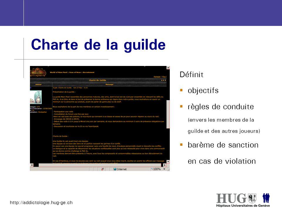 http://addictologie.hug-ge.ch Charte de la guilde Définit objectifs règles de conduite (envers les membres de la guilde et des autres joueurs) barème