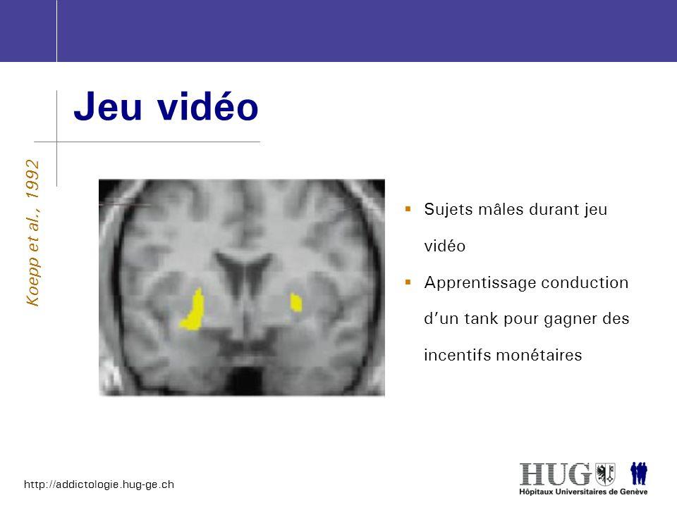 http://addictologie.hug-ge.ch Jeu vidéo Koepp et al., 1992 Sujets mâles durant jeu vidéo Apprentissage conduction dun tank pour gagner des incentifs m