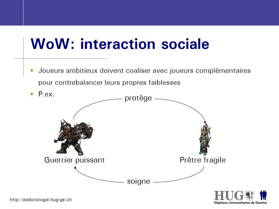 http://addictologie.hug-ge.ch WoW: interaction sociale Joueurs ambitieux doivent coaliser avec joueurs complémentaires pour contrebalancer leurs propr