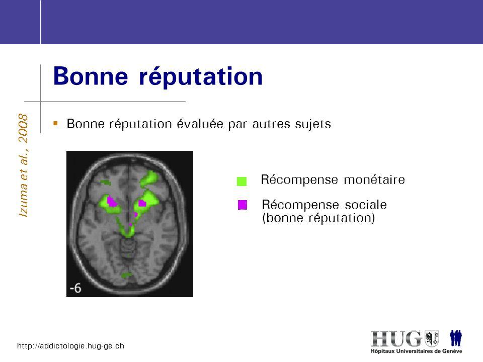 http://addictologie.hug-ge.ch Bonne réputation Bonne réputation évaluée par autres sujets Izuma et al., 2008 Récompense sociale (bonne réputation) Réc