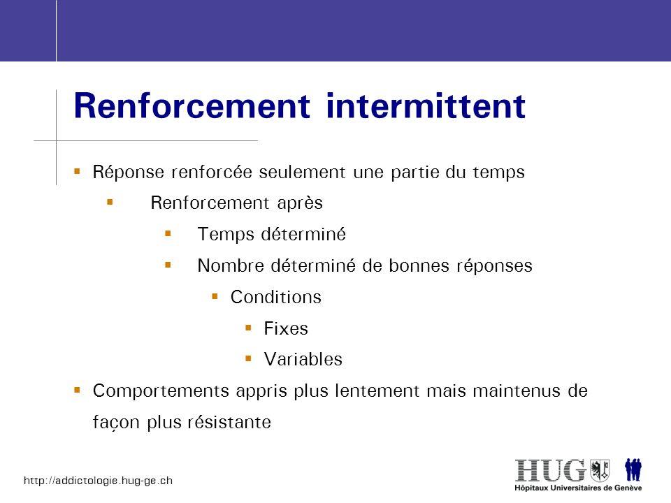 http://addictologie.hug-ge.ch Renforcement intermittent Réponse renforcée seulement une partie du temps Renforcement après Temps déterminé Nombre déte