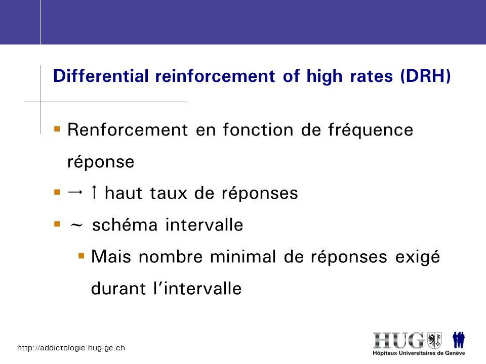 http://addictologie.hug-ge.ch Differential reinforcement of high rates (DRH) Renforcement en fonction de fréquence réponse haut taux de réponses ~ sch