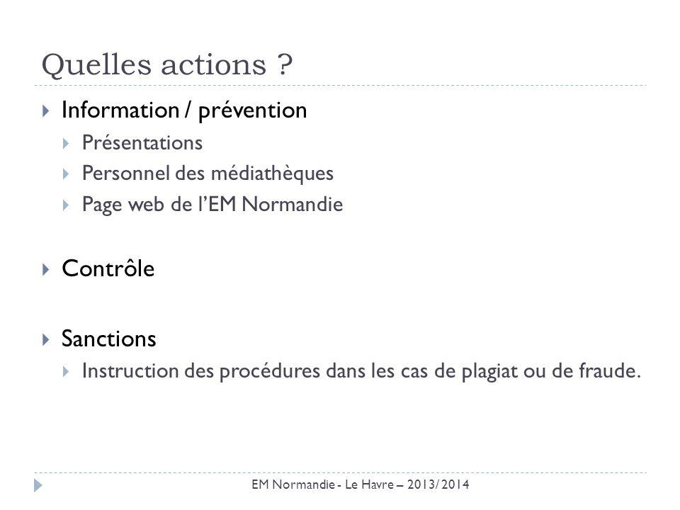 Quelles actions ? Information / prévention Présentations Personnel des médiathèques Page web de lEM Normandie Contrôle Sanctions Instruction des procé