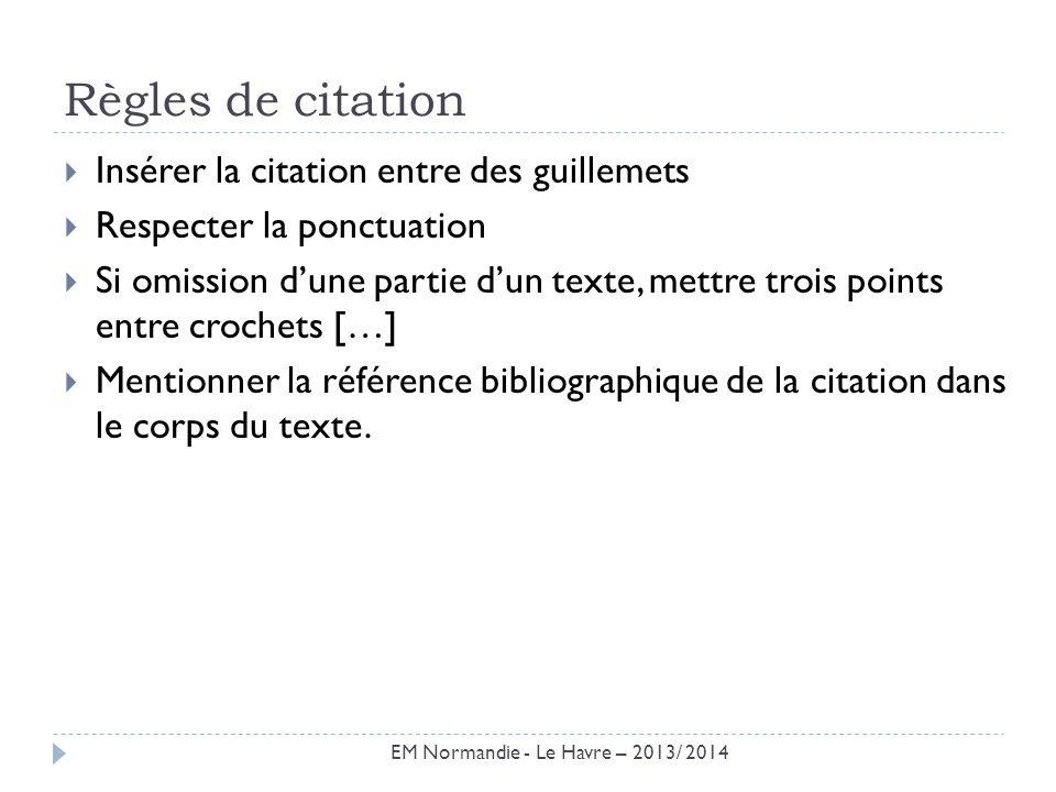 Règles de citation Insérer la citation entre des guillemets Respecter la ponctuation Si omission dune partie dun texte, mettre trois points entre croc