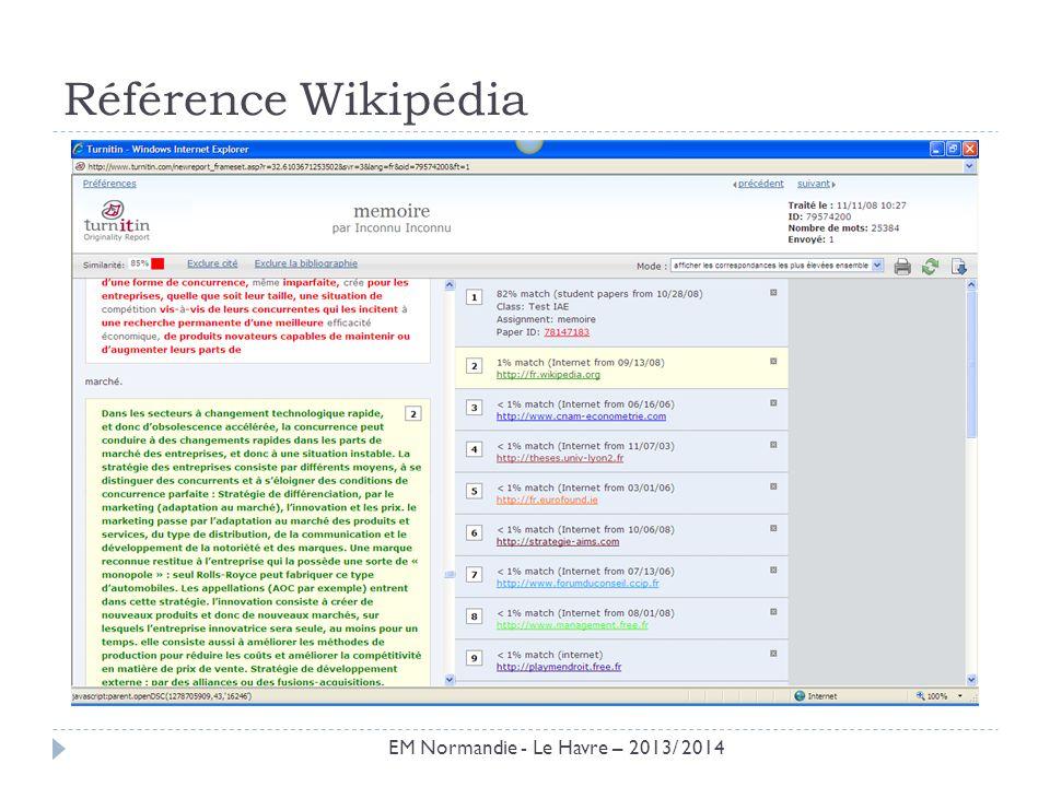 Résultat Wikipédia EM Normandie - Le Havre – 2013/ 2014