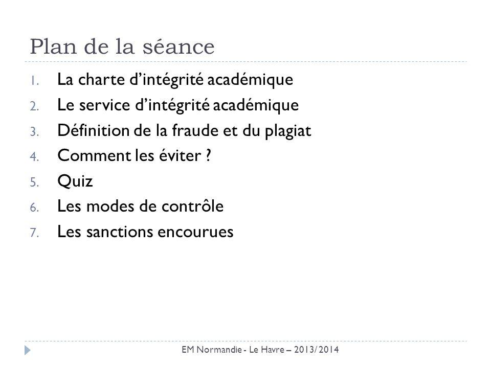 Plan de la séance 1. La charte dintégrité académique 2. Le service dintégrité académique 3. Définition de la fraude et du plagiat 4. Comment les évite