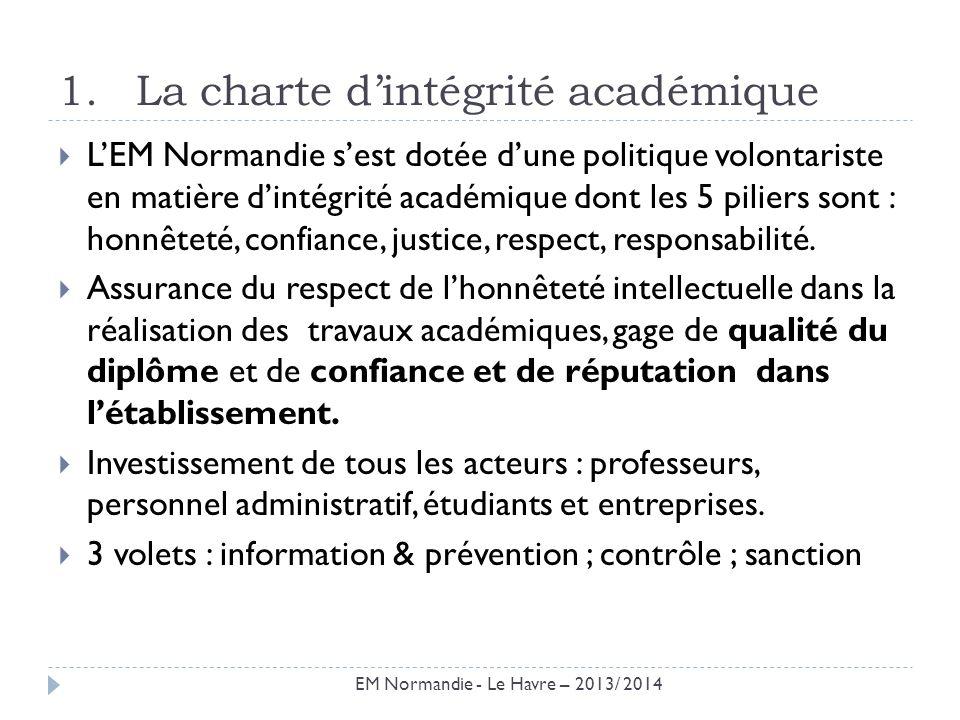 1.La charte dintégrité académique LEM Normandie sest dotée dune politique volontariste en matière dintégrité académique dont les 5 piliers sont : honn