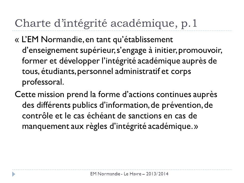 Rappel : Règlements intérieur et de scolarité La charte dintégrité académique fait référence aux règlements intérieur et de scolarité quelle ne fait quexpliciter.