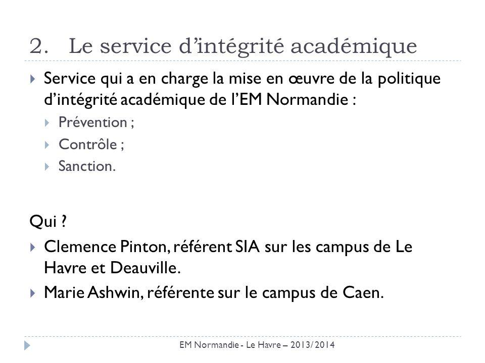 2.Le service dintégrité académique Service qui a en charge la mise en œuvre de la politique dintégrité académique de lEM Normandie : Prévention ; Cont