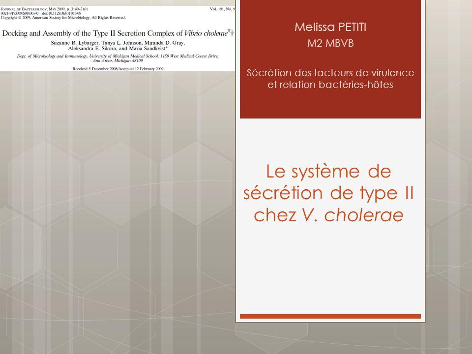 Le système de sécrétion de type II chez V. cholerae Melissa PETITI M2 MBVB Sécrétion des facteurs de virulence et relation bactéries-hôtes
