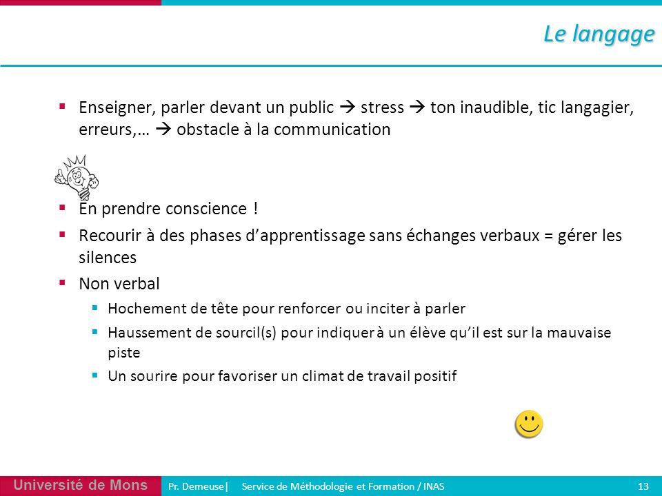 Université de Mons Pr. Demeuse| Service de Méthodologie et Formation / INAS 13 Enseigner, parler devant un public stress ton inaudible, tic langagier,
