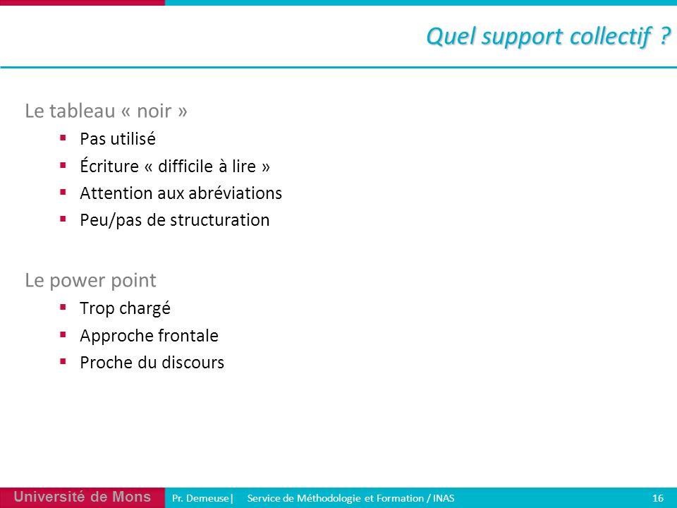 Université de Mons Pr. Demeuse| Service de Méthodologie et Formation / INAS 16 Quel support collectif ? Le tableau « noir » Pas utilisé Écriture « dif