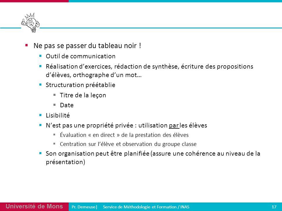 Université de Mons Pr. Demeuse| Service de Méthodologie et Formation / INAS 17 Ne pas se passer du tableau noir ! Outil de communication Réalisation d