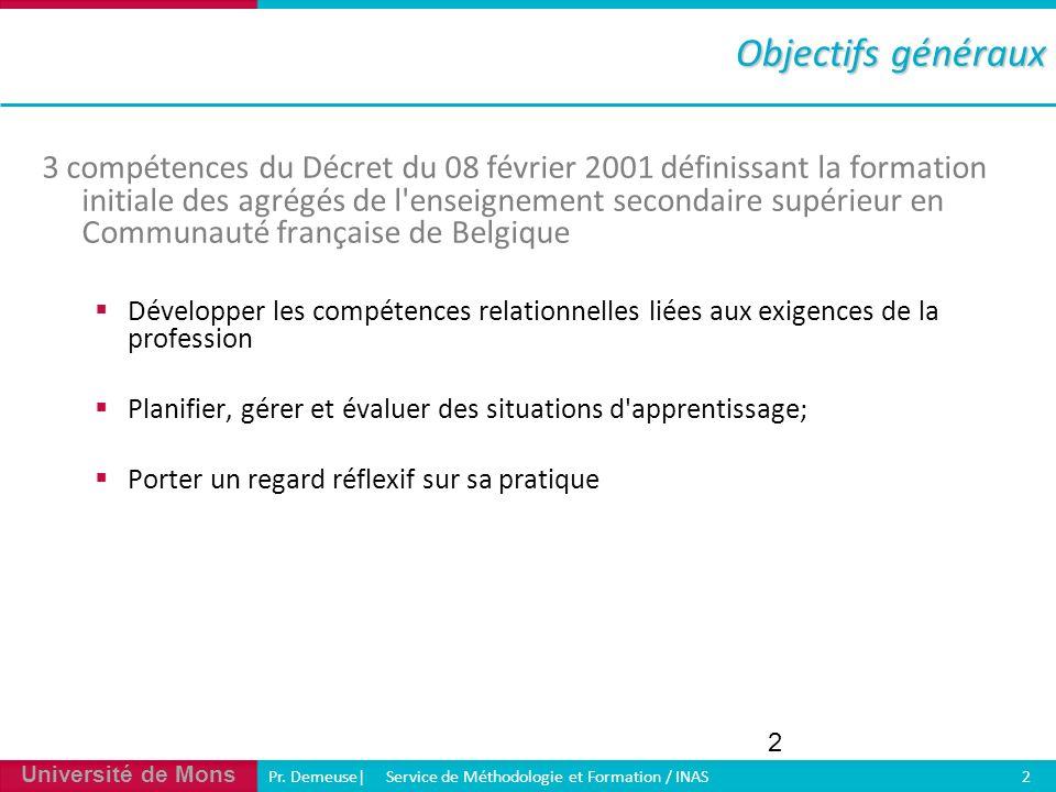 Université de Mons Pr. Demeuse| Service de Méthodologie et Formation / INAS 2 2 3 compétences du Décret du 08 février 2001 définissant la formation in