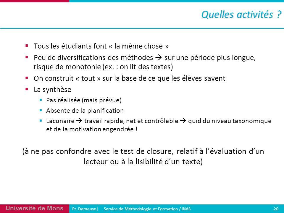 Université de Mons Pr. Demeuse| Service de Méthodologie et Formation / INAS 20 Quelles activités ? Tous les étudiants font « la même chose » Peu de di