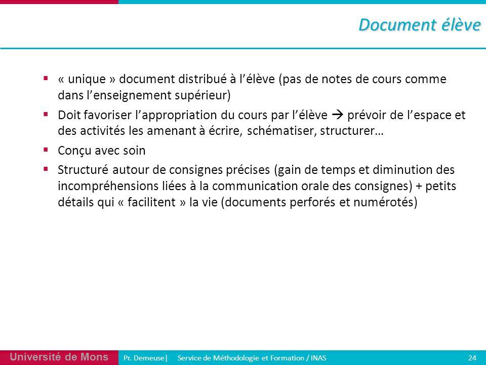 Université de Mons Pr. Demeuse| Service de Méthodologie et Formation / INAS 24 « unique » document distribué à lélève (pas de notes de cours comme dan