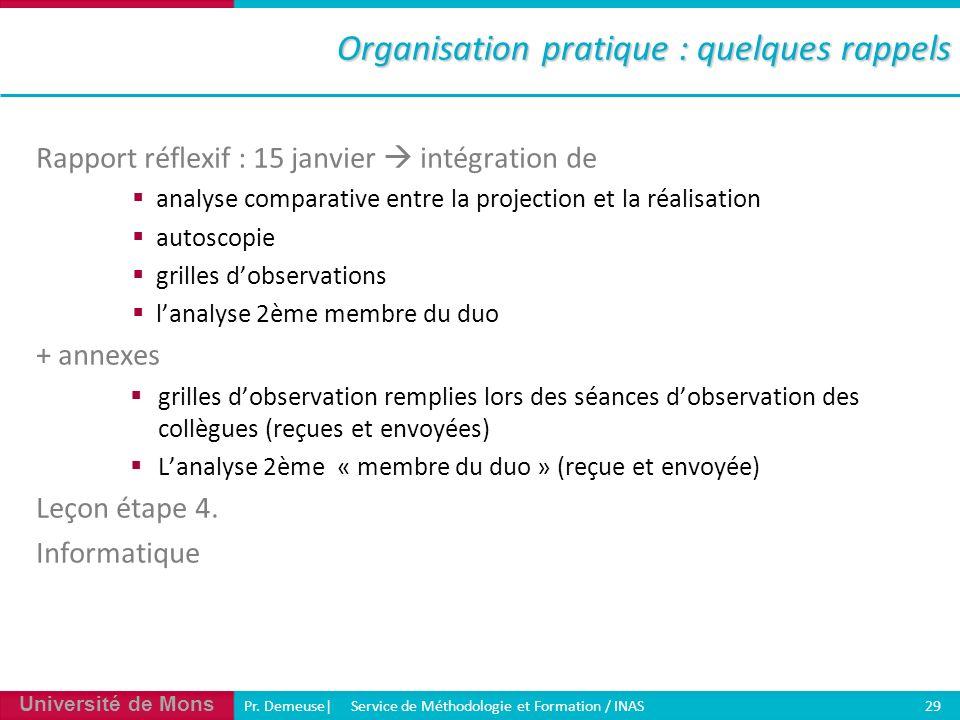 Université de Mons Pr. Demeuse| Service de Méthodologie et Formation / INAS 29 Organisation pratique : quelques rappels Rapport réflexif : 15 janvier