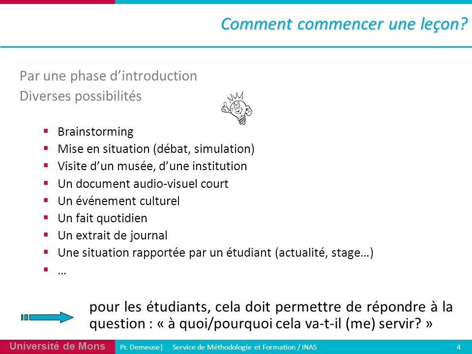 Université de Mons Pr. Demeuse| Service de Méthodologie et Formation / INAS 4 Par une phase dintroduction Diverses possibilités Brainstorming Mise en