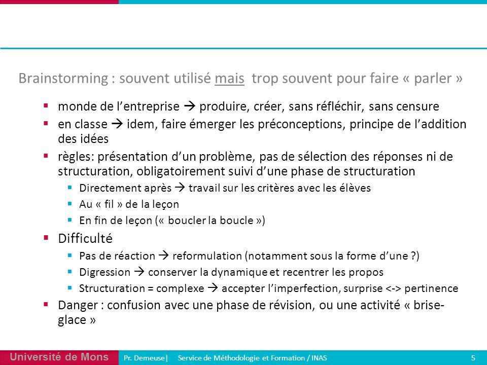 Université de Mons Pr. Demeuse| Service de Méthodologie et Formation / INAS 5 Brainstorming : souvent utilisé mais trop souvent pour faire « parler »