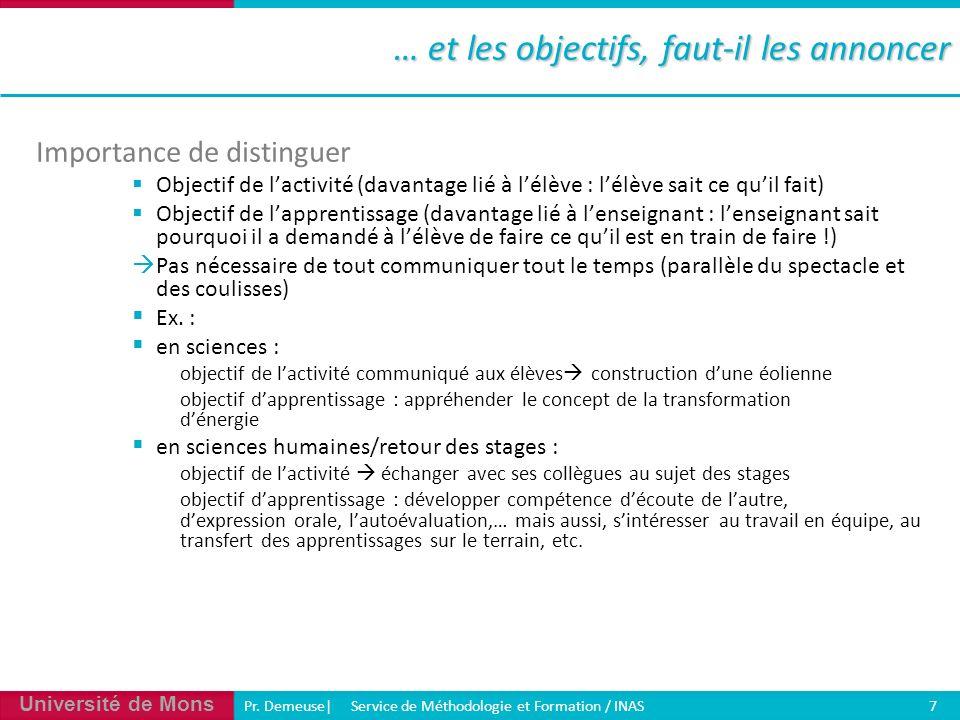 Université de Mons Pr. Demeuse| Service de Méthodologie et Formation / INAS 7 … et les objectifs, faut-il les annoncer Importance de distinguer Object