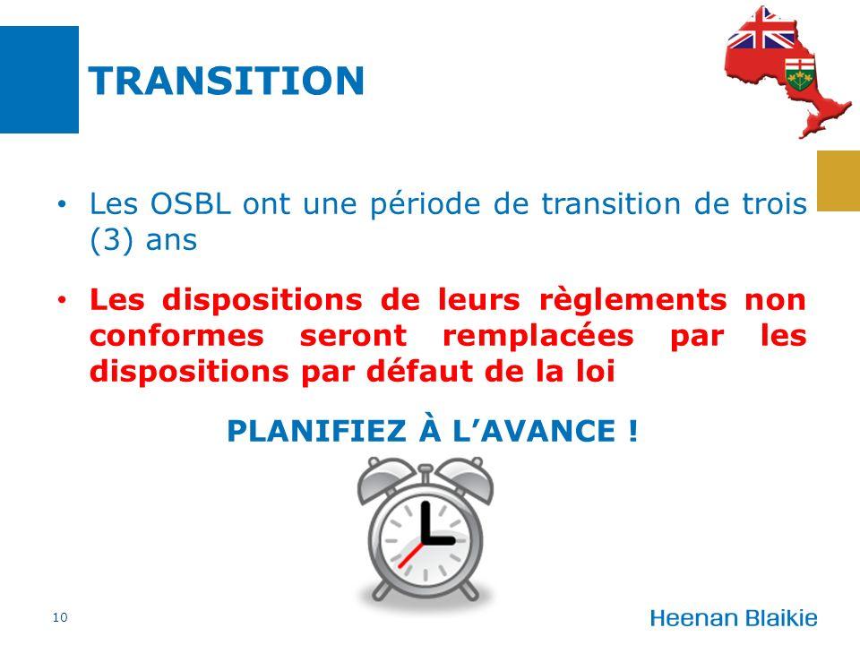 TRANSITION Les OSBL ont une période de transition de trois (3) ans Les dispositions de leurs règlements non conformes seront remplacées par les dispositions par défaut de la loi PLANIFIEZ À LAVANCE .